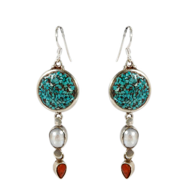 Orecchini in argento corallo turchese e perle for Orecchini con pietre dure fai da te