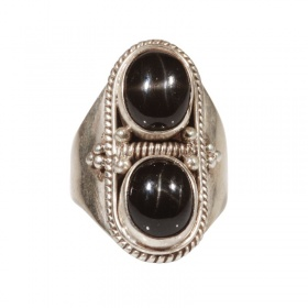 Anello Nepal in Argento e Due Black Star