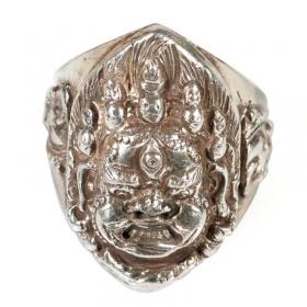 Anello in Argento Con Demone Tibetano